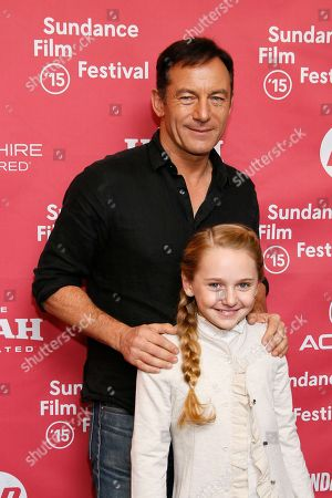 "Actor Jason Isaacs and actress Avery Phillips pose at the premiere of ""Stolkholm, Pennsylvania"" during the 2015 Sundance Film Festival, in Park City, Utah"