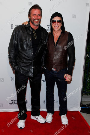 "Stock Photo of John Enos, left, and Mickey Rourke, right, attend the Tribeca Film Festival world premiere of ""Ashby"" at the SVA Theatre, in New York"