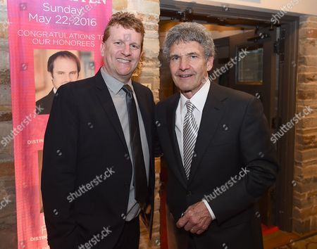 Gil Cates Jr., left, and Alan Horn attend Backstage at the Geffen, in Los Angeles