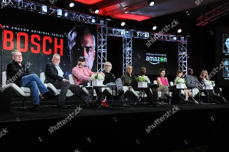 """Stock Photo of Eric Overmyer, from left, Michael Connelly, Henrick Bastin, Pieter Jan Brugge, Titus Welliver, Lance Reddick, Amy Aquino, Sarah Clarke, Jamie Hector and Jeri Ryan participate in the """"Bosch"""" panel at the The Amazon 2016 Winter TCA, in Pasadena, Calif"""