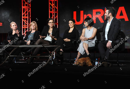 Co creator/executive producer Marti Noxon, from left, executive producer Carol Barbee, co creator/executive producer Sarah Gertrude Shapiro, Shiri Appleby, Constance Zimmer and Craig Bierko participatesin the 'UnREAL' panel at the Lifetime 2016 Winter TCA, in Pasadena, Calif