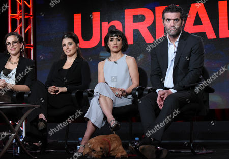 Co creator and executive producer Sarah Gertrude Shapiro, from left, Shiri Appleby, Constance Zimmer and Craig Bierko participate in the 'UnREAL' panel at the Lifetime 2016 Winter TCA, in Pasadena, Calif