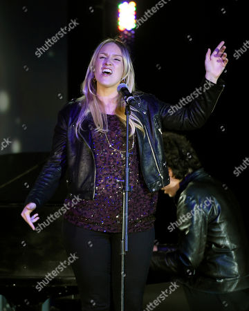 """Stock Photo of Maureen """"Mozella"""" McDonald performs her song """"Wrecking Ball"""" at the 32nd Annual ASCAP Pop Music Awards at the Loews Hollywood Hotel, in Los Angeles"""