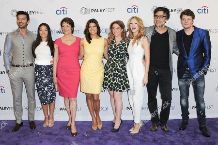 "Justin Baldoni, from left, Gina Rodriguez, Ivonne Coll, Andrea Nevado, Jennie Urman, Yael Grobglas, Jamie Camil and Brett Dier arrive at the 32nd Annual Paleyfest : ""Jane the Virgin"" held at The Dolby Theatre, in Los Angeles"