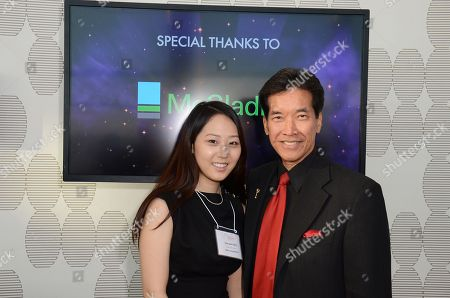 Soo yeon Shin (L) of Berkley School of Music and Peter Kwong attend the 34th College Television Awards presented by the Academy of Television Arts & Sciences Foundation at the JW Marriott Los Angeles L.A. Live on in Los Angeles, California