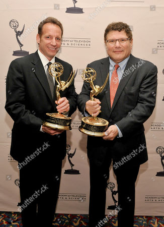 OCTOBER 26: General Manager IBM Global M&E Industry Steve Canepa with the 'Linear Tape File System' award and Andrew G. Setos of FOX with the 'Charles F. Jenkins Lifetime Achievement' award pose at the Academy of Television Arts & Sciences 63rd Primetime Emmy Engineering Awards at the Renaissance Hollywood Hotel on in Hollywood, California