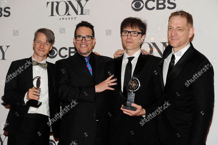 From left, John Cameron Mitchell, Director Michael Mayer, Stephen Trask and Producer David Binder pose in the press room at the 68th annual Tony Awards at Radio City Music Hall, in New York