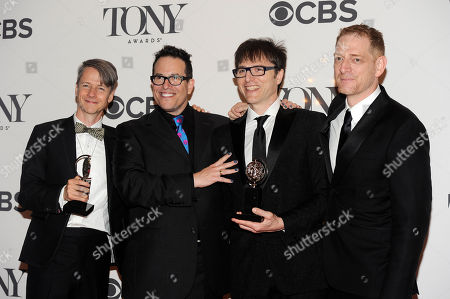Stock Picture of From left, John Cameron Mitchell, director Michael Mayer, Stephen Trask and producer David Binder pose in the press room at the 68th annual Tony Awards at Radio City Music Hall, in New York