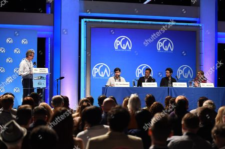 From left, Ted Mundorff, Daniel Hammond, Andrew Karpen, Jonathan Saba and Molly Smith speak at the 8th Annual Produced By Conference presented by Producers Guild of America at Sony Pictures Studios on in Culver City, Calif
