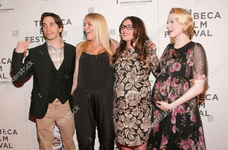 "Stock Image of From left, actor Justin Long, actress Busy Philipps, director Kat Coiro and actress Evan Rachel Wood attend the ""A Case Of You"" premiere during the 2013 Tribeca Film Festival on in New York"