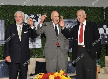 "Stock Photo of OCTOBER 13: (L-R) Actor Dick Van Dyke, honoree Carl Reiner and writer Bill Persky onstage at the Academy of Television Arts & Sciences Presents: ""An Evening Honoring Carl Reiner"" at the Leonard H. Goldenson Theatre on in North Hollywood, California"