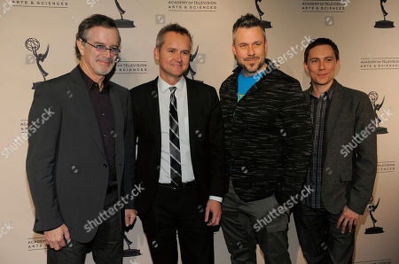 """Roy Price, second from left, director of Amazon Studios, poses with Garry Trudeau, left, creator of the Amazon Studios television series """"Alpha House,"""" and Josh Stoddard, second from right, and Evan Endicott, co-creators of the Amazon television series """"Betas,"""" at the Amazon Studios at the Television Academy event on in Los Angeles"""