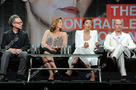 """From left, Executive Producer Greg Brenman, actors Janet McTeer, Maggie Gyllenhaal and writer/director/producer Hugo Blick onstage during """"The Honorable Woman"""" portion of the Sundance 2014 Summer TCA, in Beverly Hills, Calif"""