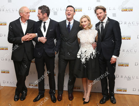 From left, actor Charles Dance, director Gary Shore, actors Sarah Gadon, Luke Evans and Noah Huntley pose for photographers as they arrive for the premiere of the film Dracula Untold in central London