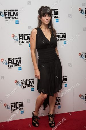 Stock Photo of Martha Freud poses for photographers on arrival at the premiere of the film 'Trespass Against Us', showing as part of the London Film Festival in London