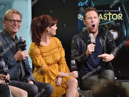 "Actors David Rasche, left, Sara Rue and Michael Rosenbaum participate in the BUILD Speaker Series to discuss the television series ""Impastor"" at AOL Studios, in New York"