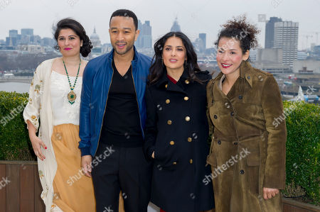 Stock Image of Sharmeen Obain-Chinoy, left, John Legend, 2nd left. Salma Hayek, 2nd right. and Mariane Pearl at the Chime For Change photocall at the Corinthia Hotel in London, . Chime For Change is a new, global campaign focused on girls' and women's empowerment. It serves to convene, unite and strengthen voices speaking out for girls and women around the world, and to raise funds for non-profit organizations pursuing change
