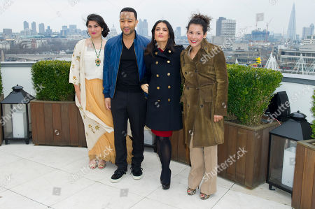 Stock Picture of Sharmeen Obain-Chinoy, John Legend, Salma Hayek and Mariane Pearl at the Chime For Change photocall at the Corinthia Hotel in London