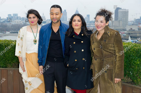 Sharmeen Obain-Chinoy, John Legend, Salma Hayek and Mariane Pearl at the Chime For Change photocall at the Corinthia Hotel in London