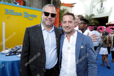 """Stock Picture of Marc Shmuger, CEO, EuropaCorp, and Tommy Gargotta, President of Theatrical Marketing, EuropaCorp USA, seen at EuropaCorp Presents the World Premiere of """"Nine Lives"""" at TCL Chinese Theatre, in Los Angeles"""
