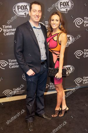 Kyle Busch and Samantha Sarcinella arrive at Fox Sports 1 Thursday Night Super Bash at Time Warner Cable Studios, in New York