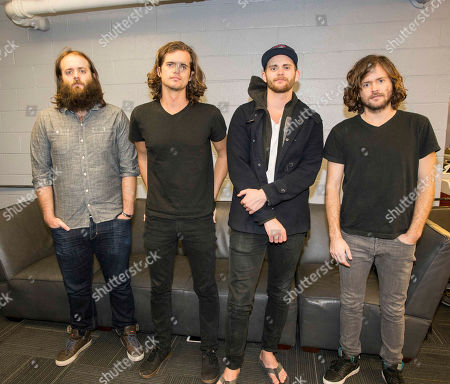 Dylan Kongos, Daniel Kongos, Jesse Kongos and Johnny Kongos pose backstage at Center Stage Theater, in Atlanta