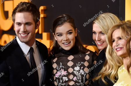 "Kelly Fremon Craig, second from right, writer/director of ""Edge of Seventeen,"" poses with cast members, from left, Blake Jenner, Hailee Steinfeld and Kyra Sedgwick at a special screening of the film at the Regal LA LIVE theaters, in Los Angeles"