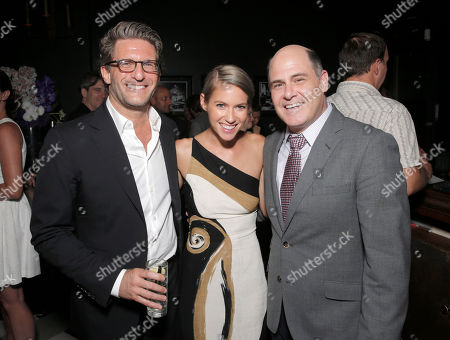 Producer Gary Gilbert, Laura Ramsey and Director Matt Weiner attend the after party for the premiere of 'Are You Here' Presented by Purity Vodka on in Hollywood, California