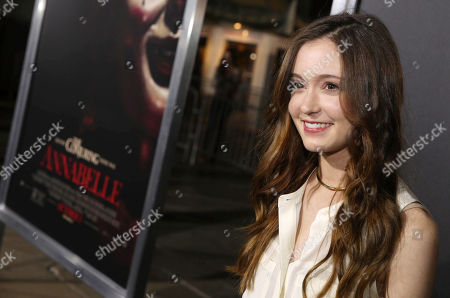 """Hayley McFarland seen at the Los Angeles Special Screening of New Line Cinema's """"Annabelle"""", in Hollywood"""