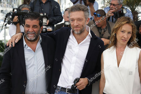 Producer Alain Attal, Vincent Cassel and Emmanuelle Bercot pose for photographers at the photo call for the film Mon Roi, at the 68th international film festival, Cannes, southern France