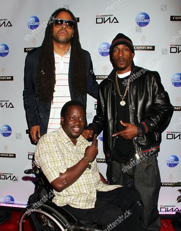 """L-R) Kia Shine, Daryl """"Chill"""" Mitchell and Rakim at Monster Headphones """"Simply Classic"""" BET 2012 Hip Hop Awards After Party Featuring Rakim hosted by Devyne Stephens and Chaka Zulu at Frank Ski's Restaurant, in Atlanta, Georgia"""