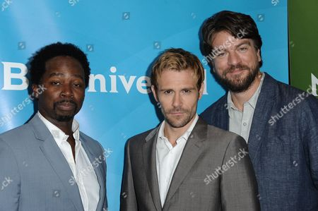 From left, Harold Perrineau Jr., Matt Ryan, Charles Halford attends the NBC 2014 Summer TCA held at the Beverly Hotel, in Beverly Hills, Calif