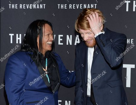 "Actors Arthur Redcloud, left, and Domhnall Gleeson attend the premiere for ""The Revenant"" at AMC Loews Lincoln Square, in New York"