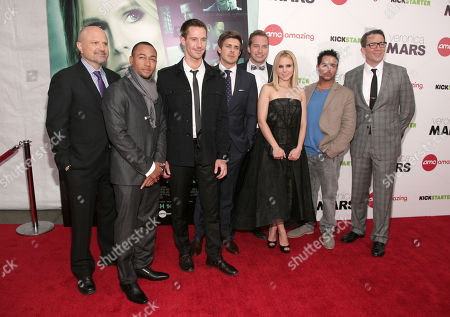 """From left, actors Enrico Colantoni, Percy Daggs III, Jason Dohring, Chris Lowell, Ryan Hansen, Kristen Bell and Francis Capra, and director Rob Thomas attend the New York premiere of """"Veronica Mars"""" on in New York"""