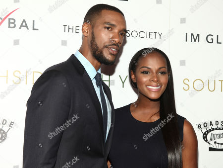"""Actor Parker Sawyers, left, and actress Tika Sumpter, right, attend a special screening of """"Southside With You"""" at the Landmark Sunshine Cinema, in New York"""