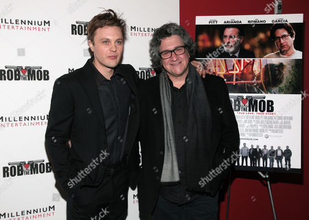 "Actor Michael Pitt, left, and director Raymond De Felitta, right, attend a screening of ""Rob The Mob"" on in New York"