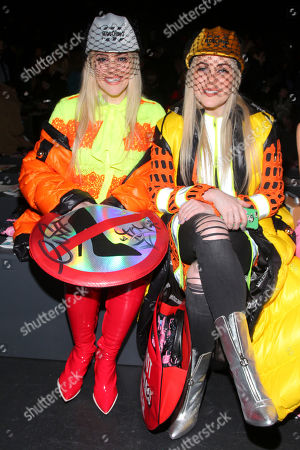 Cailli Beckerman, left, and Sam Beckerman, right, attend the Jeremy Scott NYFW Fall/Winter 2016 fashion show at Skylight at Moynihan Station, in New York