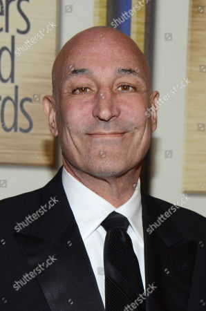 """Stock Picture of Sam Simon arrives at the Writers Guild Awards, in Los Angeles. Simon, a co-creator of """"The Simpsons"""" who made a midlife career shift into philanthropy and channeled much of his personal fortune into social causes including animal welfare, has died, after a long bout with cancer. He was 59"""