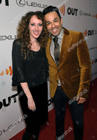 Stock Photo of Costume designer Jennifer Rade, left, and Stephen Macias, President of Macias Media Group, arrive at OUT Magazine's 20th Anniversary Party presented by Lexus at Station at W Hotel on in Los Angeles