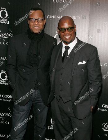 """Director Geoffrey Fletcher, left, and music executive Andre Harrell, right, attend a screening of """"Oz The Great and Powerful"""" presented by Gucci and The Cinema Society, in New York"""