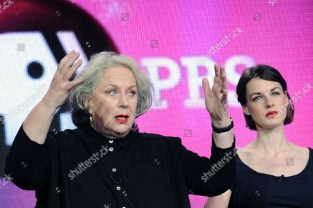 From left, Pam Ferris and Jessica Raine attend the PBS Winter TCA Tour at the Langham Huntington Hotel, in Pasadena, Calif