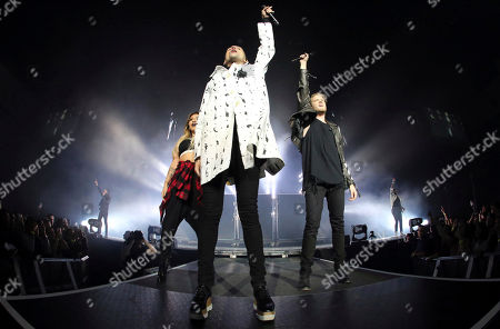 Stock Photo of Scott Hoying, Mitchell Grassi, Kirstin Maldonado, Avi Kaplan and Kevin Olusola with Pentatonix performs at the Infinite Energy Arena, in Atlanta