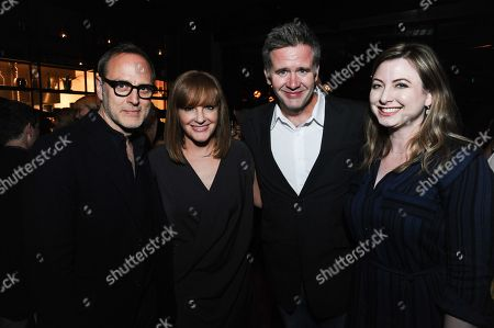 "Stock Photo of Producers JL Pomeroy, from left, Tom Broecker, Owen Moogan, and Demetra Stavrakas attend after party for the Los Angeles Premiere Of ""Live from New York!"" at Hinoki & the Bird, in Los Angeles"