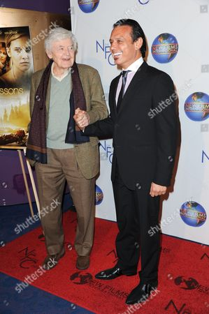 """Hal Holbrook, left, and Nesim Hason attend the premiere of """"Flying Lessons"""" at the Laemmle Monica 4-Plex, in Santa Monica, Calif"""