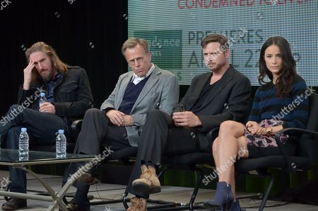 From left, Raymond McKinnon, Mark Johnson, Aden Young, and Abigail Spencer attend the Sundance Channel TCA Winter Tour at the Langham Huntington Hotel, in Pasadena, Calif
