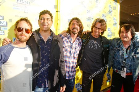 "Musicians Nate, Mendel, Pat Smear, Dave Grohl, Rick Springfield and Lee Ving, left to right, arrive at a screening of his movie ""Sound City"" during the SXSW Film and Music Festival, on in Austin, Texas"