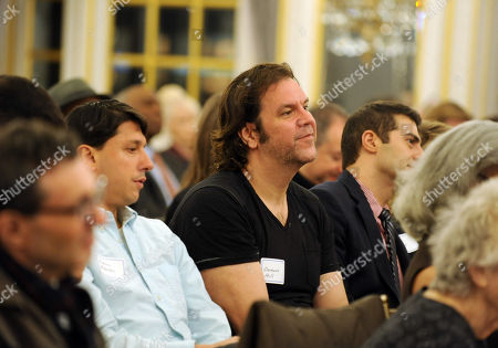 Canadian voice actor Dwayne Hill, center, listens to The Business of Voice-Over panel discussion hosted by the Television Academy for its East Coast members and National Television Academy members, at the St. Regis Hotel in New York