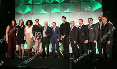 Pictured from left to right, Jessica Mendoza, Hannah Storm, Serena Williams, Missy Franklin, CEO of DICK'S Sporting Goods, Ed Stack, Tim Finchem, Tom Brady, Mark King, Jon Gruden, Kevin Plank, John Skipper and Rob Manfred, prepare for their panel discussions during the DICK'S Sporting Goods Foundation world film premiere at The Conrad Hotel in New York, in New York