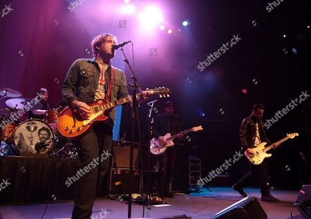 Benny Horowitz, from left, Brian Fallon, Ian Perkins and Alex Levine of the band The Gaslight Anthem perform in concert during their Get Hurt Tour 2015 at Rams Head Live, in Baltimore