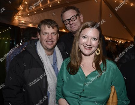 President of Guggenheim Partners Todd Boehly, from left, president of the Hollywood Foreign Press Association Theo Kingma and American Airline's director of interactive marketing Amy Bays attend the Next Gen Cocktail Party co-hosted by The Hollywood Reporter and Hollywood Foreign Press Association at The Sundance Film Festival presented by American Airlines, in Park City, Utah